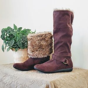 Report Brown Fur Lined Knee High Boots